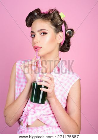 Pinup Girl With Fashion Hair. Pin Up Woman With Trendy Makeup. Perfect Housewife. Retro Woman Drink
