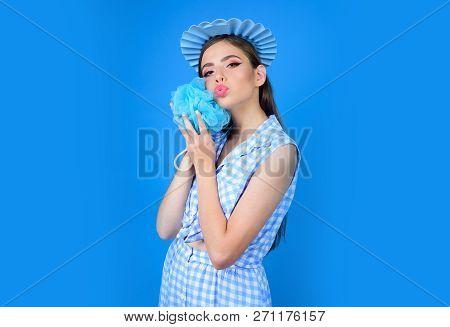 Morning Grooming And Skincare. Bath Time. Pinup Girl With Fashion Hair. Woman Shaving Washing With S