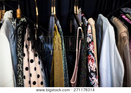 Close up of a clothing rack