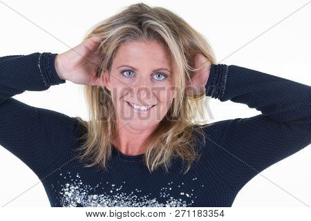Beautiful Woman Middle Aged Portrait With Hands On Hair Head