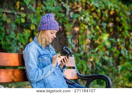 I Am Waiting For You In Park. Girl Busy With Phone Nature Background. Woman Messaging Mobile Phone.