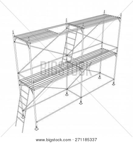 3d Outline Scaffold. Vector Rendering Of 3d. Wire-frame Style. The Layers Of Visible And Invisible L