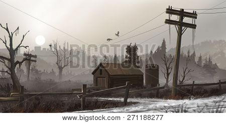 Abandoned House In The Dead Land. Fiction Backdrop. Concept Art. Realistic Illustration. Video Game