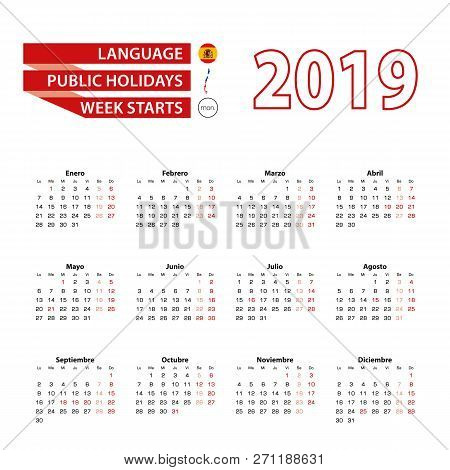 Calendar 2019 In Spanish Language With Public Holidays The Country Of Chile In Year 2019. Week Start