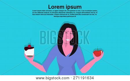 woman holding cake apple resist temptation making right dietary choice weight loss diet dilemma concept female cartoon character flat portrait horizontal copy space poster