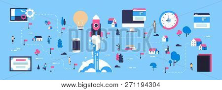 Rocket Launching Startup Concept Isometric Map Business Innovation New Idea Businessperson Cartoon C