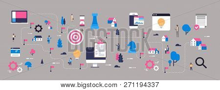 Business Strategy Map Successful Innovation New Ideas Concept Isometric Planning Scheme Team Working