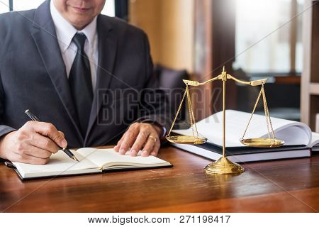The Private Office Workplace For Consultant An Young Lawyer Legislation With Gavel And Document On W