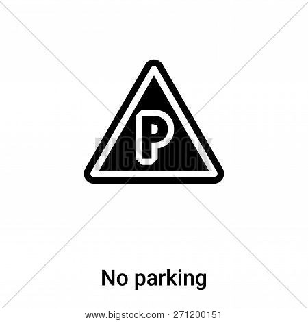 No Parking Icon In Trendy Design Style. No Parking Icon Isolated On White Background. No Parking Vec