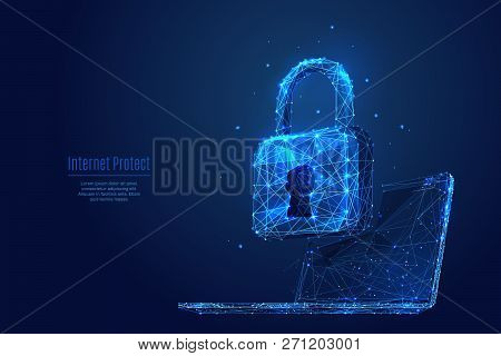 Lock On Laptop Screen. Low Poly Wireframe Vector Illustration. Digital Data Protect Or Secure Concep