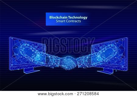 Blockchain Technology Smart Contacts Poster Vector. Screens People Handshake, Bitcoin Banking And De