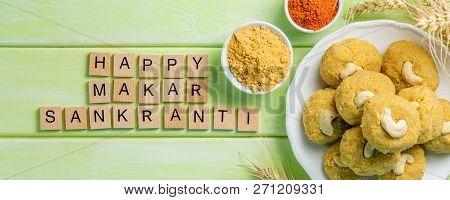 Makar Sankranti Festival Card - Symbols Til Gul Or Sweet Sesame Laddu, Miniature Fikri And Kite Mode