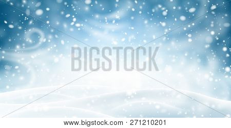 Blue Shiny Banner With Winter Landscape, Snow And Blizzard.
