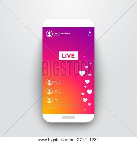 Vector Illustration Live Video Streaming Stories On Colorful Gradient Background. Smartphone Stream