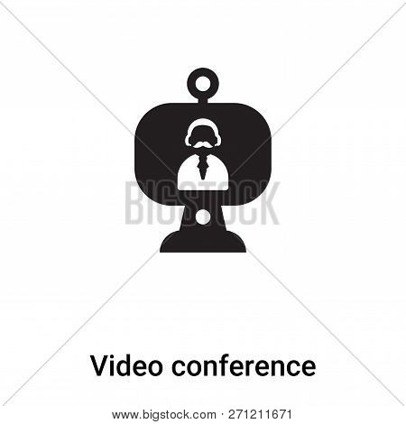 Video Conference Icon In Trendy Design Style. Video Conference Icon Isolated On White Background. Vi