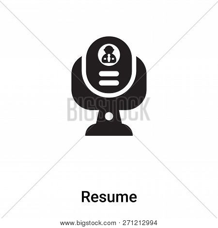 Resume Icon In Trendy Design Style. Resume Icon Isolated On White Background. Resume Vector Icon Sim