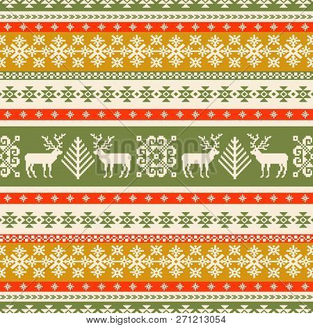 Christmas Trees And Reindeers Background