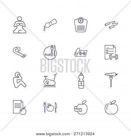 Losing Weight Icons. Set Of Line Icons. Fitness, Yoga, Healthy Eating, Vegetarian Food. Healthy Life