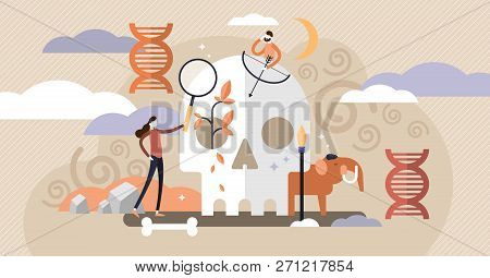 Anthropology Vector Illustration. Ancient Mini Persons Concept With Skull, Bones And Mammoth. Dna An