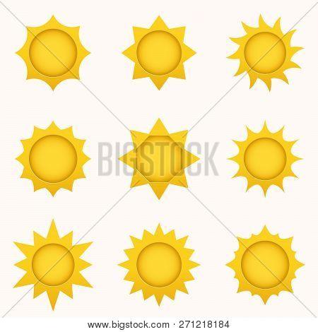 Sun Icon Set. Summer Sky Elements. Sun Silhouettes Collection. Isolated Sun Symbol. Cute Cartoon Sun
