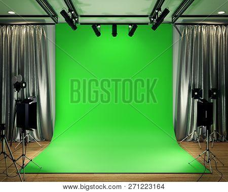 Studio Big - Modern Film Studio With Green Screen. 3d Rendering