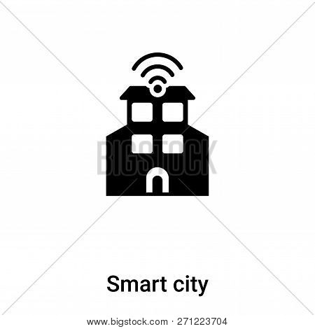 Smart City Icon In Trendy Design Style. Smart City Icon Isolated On White Background. Smart City Vec