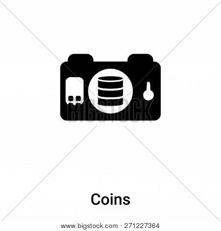 Coins Icon In Trendy Design Style. Coins Icon Isolated On White Background. Coins Vector Icon Simple