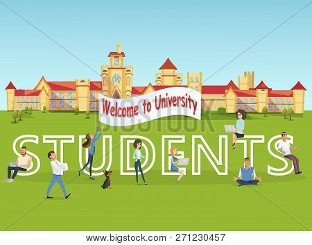 Vector Concept Illustration Cartoon Happy Students. Group People Meet Incoming Students To Universit