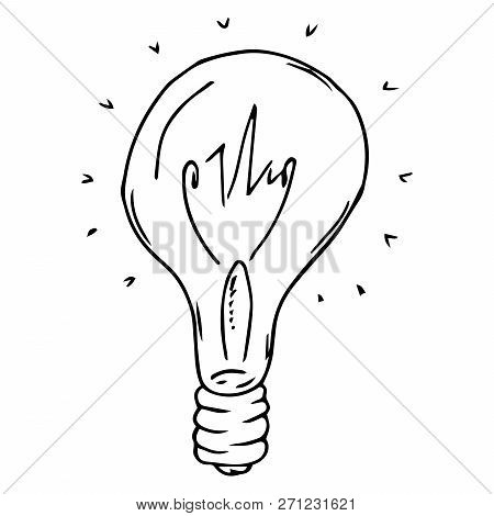 Incandescent Lamp Hand Drawn. Vector Illustration Of An Incandescent Lamp. Incandescent Lamp Icon.