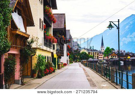 Scenic Street In Hallstatt Village In Alps, Austria.