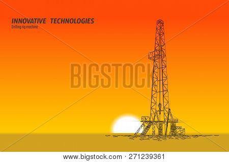 Onshore Oil Gas Drilling Rig. Raw Material Economy Finance Business Concept. Petroleum Industrial We