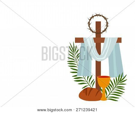 Christian Banner Holy Week With A Collection Of Icons About Jesus Christ. The Concept Of Easter And