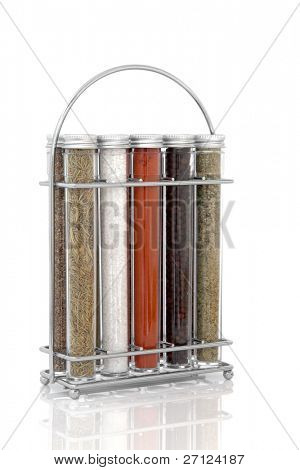 Spice and herb rack of sage, rosemary,  sea salt, cayenne pepper, black peppercorns and parsley  isolated over white background. poster
