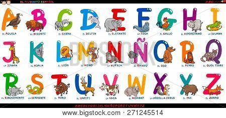 Cartoon Illustration Of Educational Colorful Spanish Alphabet Or Alfabeto Espanol Set With Funny Ani