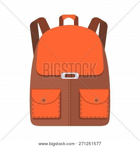 Satchel. Backpack School Badge In Flat Style. Hiking Backpack. Childrens Backpack For Education And