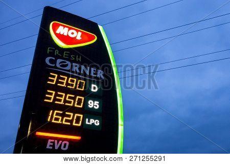 Ostrava, Czech Republic - November 27, 2018: The Mol Petrol Station In Ostrava Presenting Prices Of
