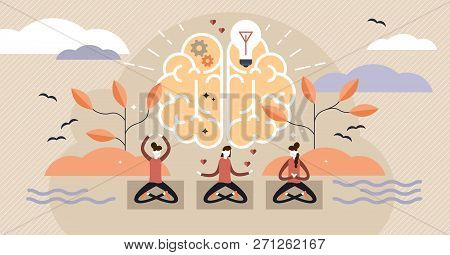 Mindfulness Flat Vector Illustration. Mentally Healthy Exercise With Yoga Pose. Spiritual Body Train