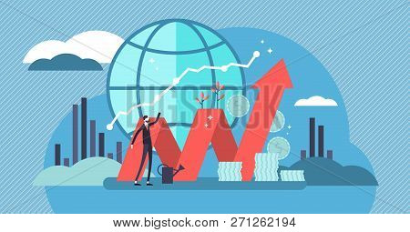 Stock Market Vector Illustration. Flat Mini Money Growth Persons Concept With Positive And Successfu