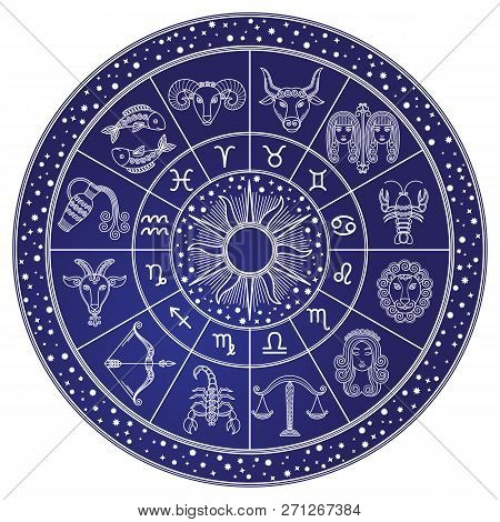 Horoscope And Astrology Circle Zodiac With Twelve Signs Vector. Start And Images Of Leo, Scorpion An