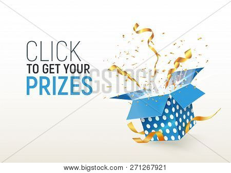 Open Textured Blue Box With Confetti Explosion Inside. Click To Get Your Prizes. Flying Particles Fr
