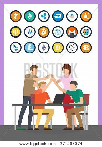 Bitcoin Currency And Successful Teamwork Set Vector. Isolated Icons Of Cryptocurrencies Types, Litec
