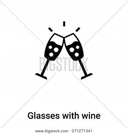 Glasses With Wine Icon In Trendy Design Style. Glasses With Wine Icon Isolated On White Background.