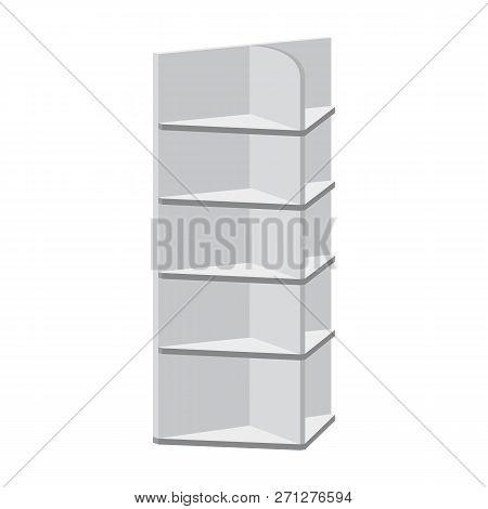 Rack Shelves For Supermarket Floor Showcases On A White Background. Advertisement Pos Poi. Slender W