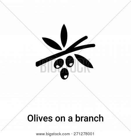 Olives On A Branch Icon In Trendy Design Style. Olives On A Branch Icon Isolated On White Background