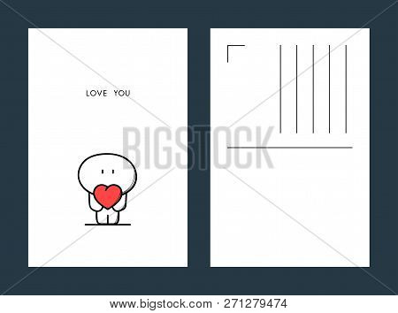 Love You Postcard - Cute Cartoon Character With Red Heart In The Hands.