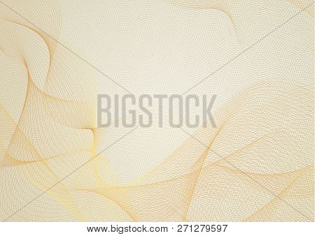 Abstract guilloche pattern (gold vector complicated red line texture). Blank background useful for business layout, backdrop for design project certificate, diploma, official document, formal paper poster