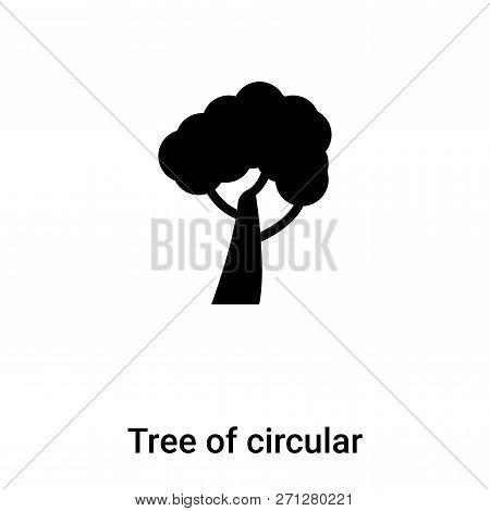 Tree Of Circular Foliage Icon In Trendy Design Style. Tree Of Circular Foliage Icon Isolated On Whit