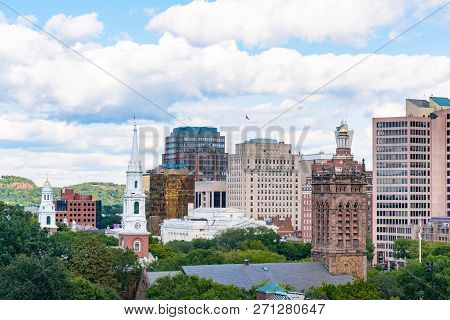 Churches And Skyline Of New Haven, Connecticut