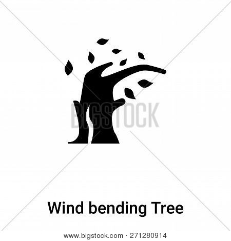 Wind Bending Tree Icon In Trendy Design Style. Wind Bending Tree Icon Isolated On White Background.