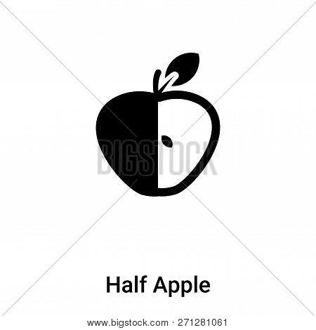 Half Apple Icon In Trendy Design Style. Half Apple Icon Isolated On White Background. Half Apple Vec